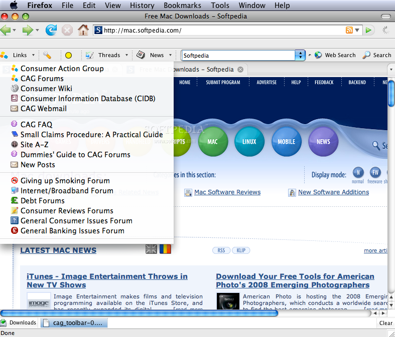 CAG toolbar screenshot 1