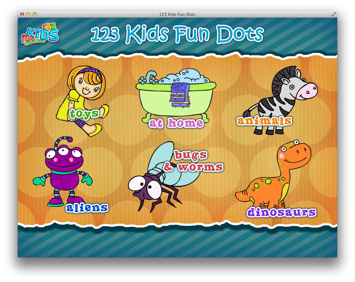 123 Kids Fun Dots screenshot 3 - In the main window of the application you can choose one of the available categories.