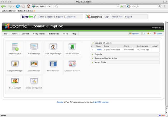 JumpBox for Joomla screenshot 1
