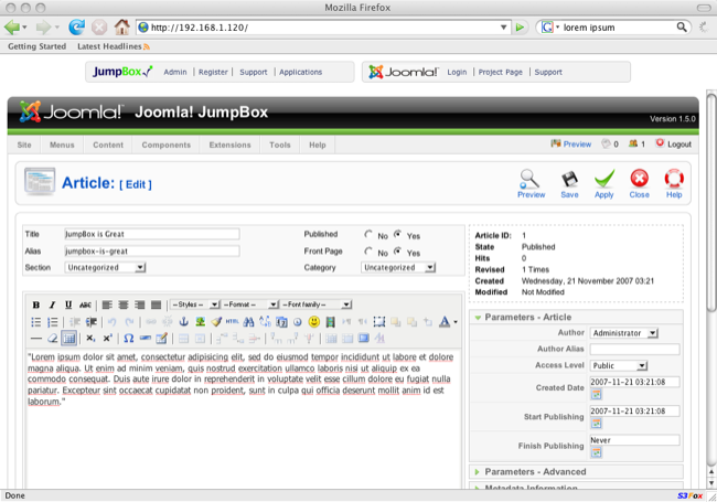 JumpBox for Joomla screenshot 2