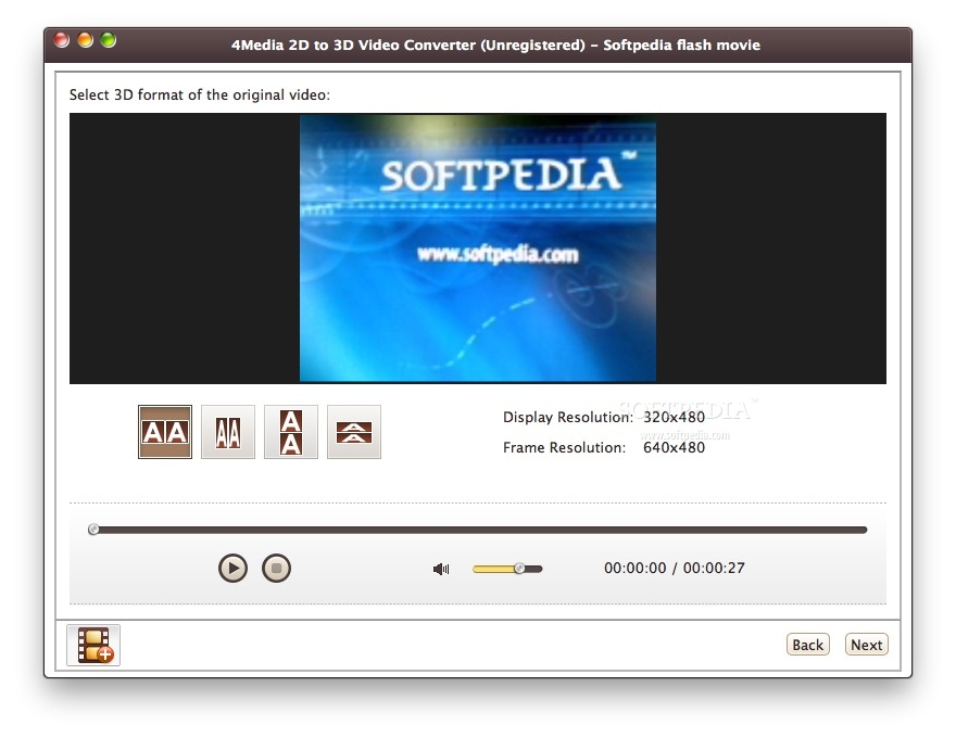 4Media 2D to 3D Video Converter - Here you can select the format of the vid