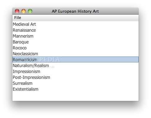 AP European History Art screenshot 1 - Here you can choose the desired artistic period.