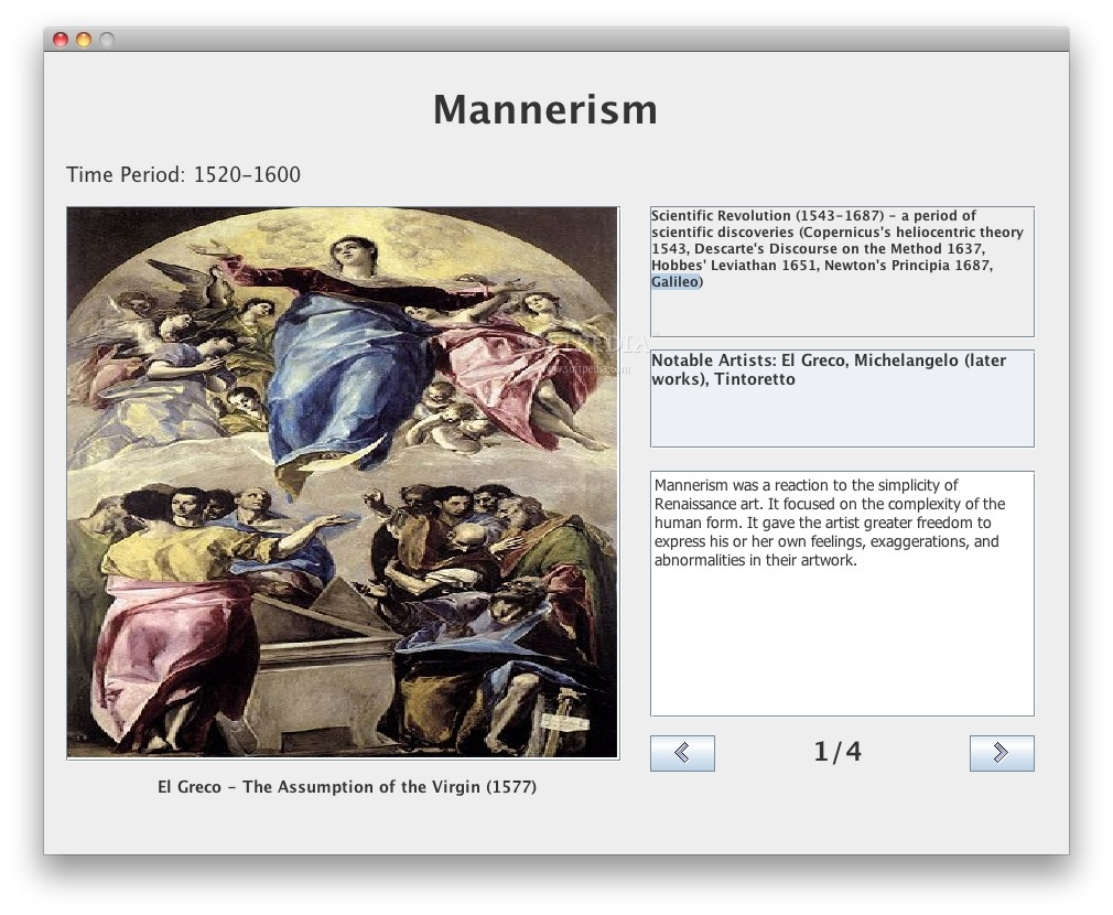 AP European History Art screenshot 2 - Reading about mannerism.