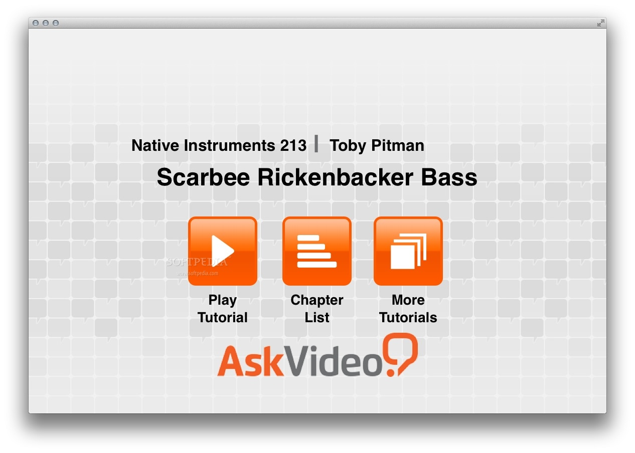 AV for Scarbee Rickenbacker Bass screenshot 1 - From the main window, you can begin watching the videos or access the chapter list.