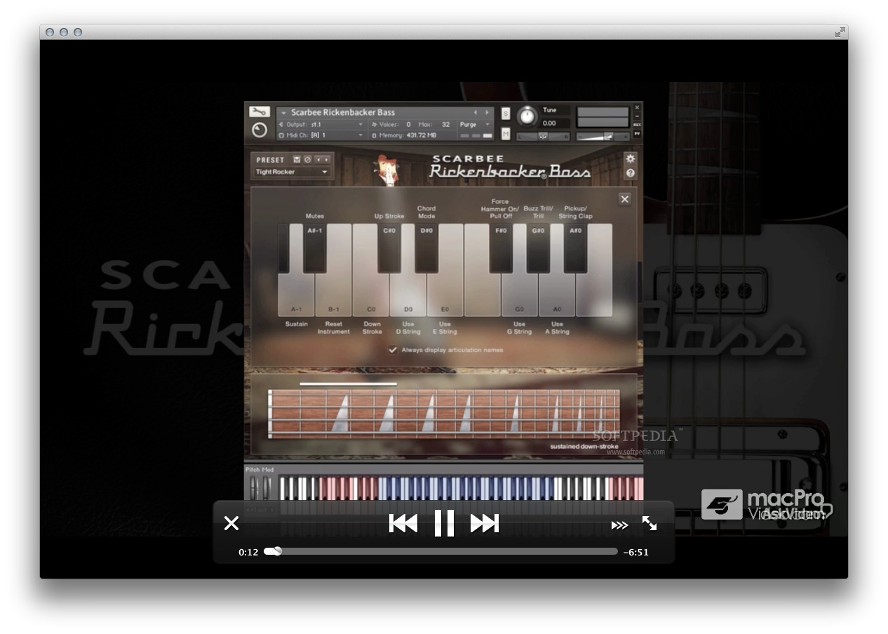 AV for Scarbee Rickenbacker Bass screenshot 2 - During the video playback, you can use the control bar to pause and play next or previous video, or to control the playback.