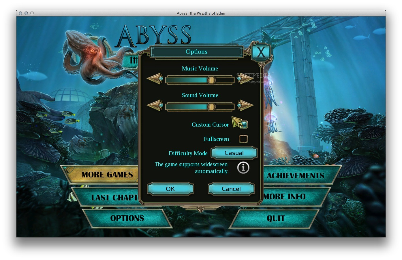 Abyss: The Wraiths of Eden screenshot 4 - From the 'Options' panel you can choose to play the game in full screen mode.