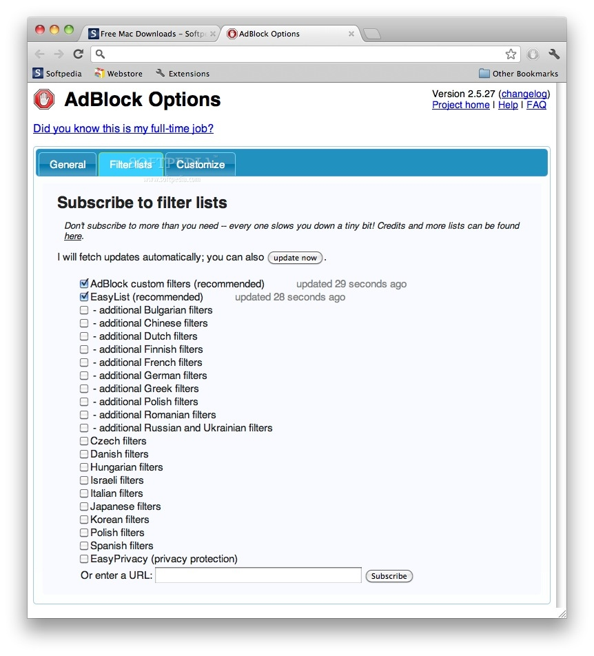 AdBlock screenshot 2 - Users can also block ads using the context menu.