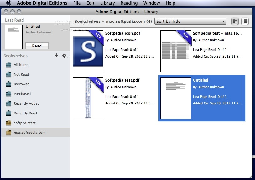 Adobe Digital Editions screenshot 1 - The main window where you can browse your documents and organize them by collections.