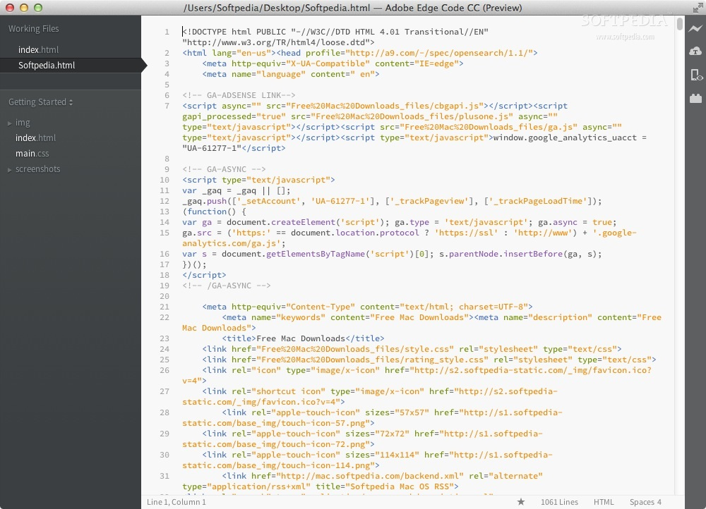 Adobe Edge Code screenshot 1 - In the main window of the application you can view the source of the selected HTML file.