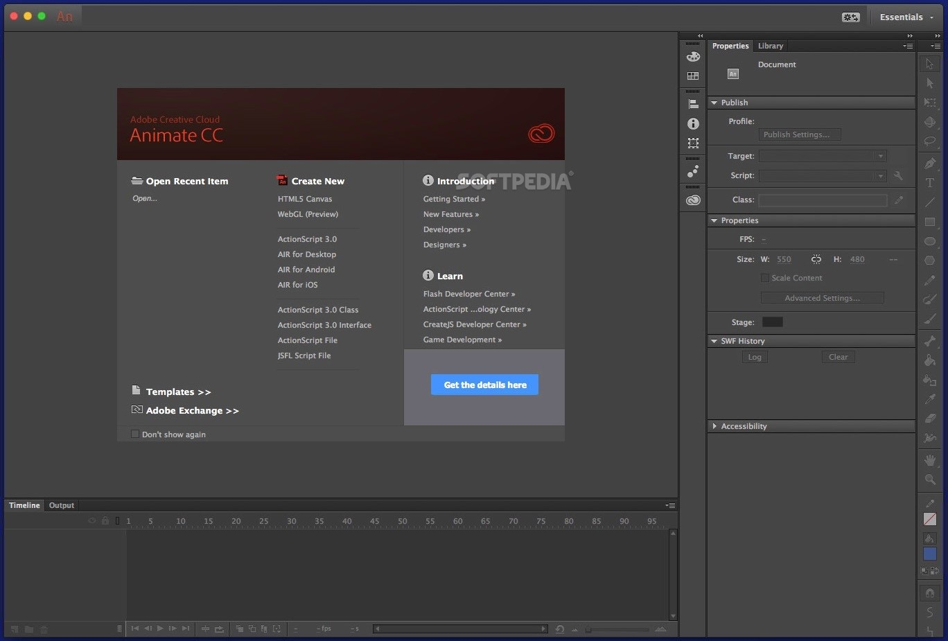 Adobe animate formerly flash professional the animate cc main