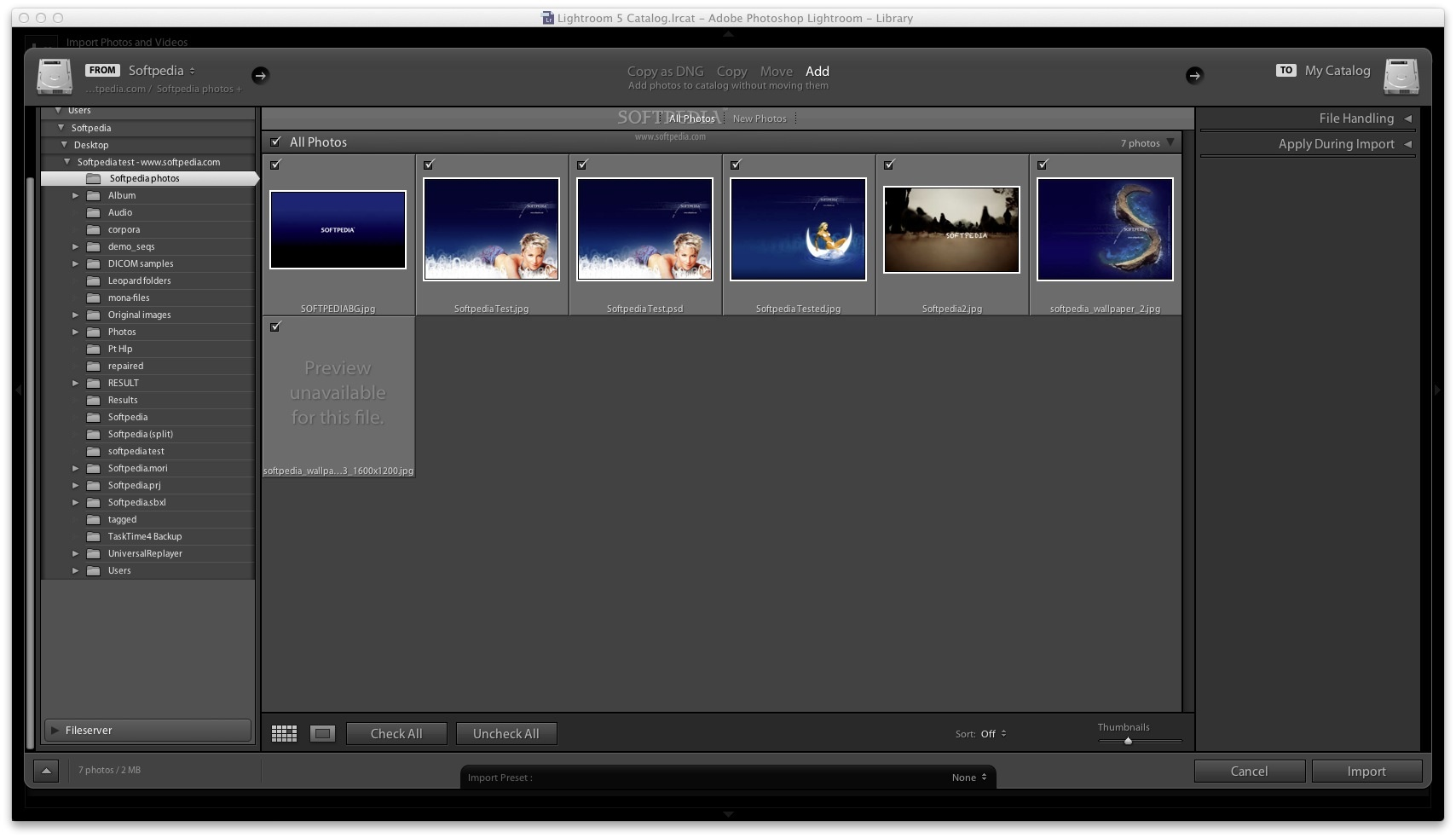 Adobe Lightroom screenshot 1 - In the Library window you can search and import image files found on your Mac.