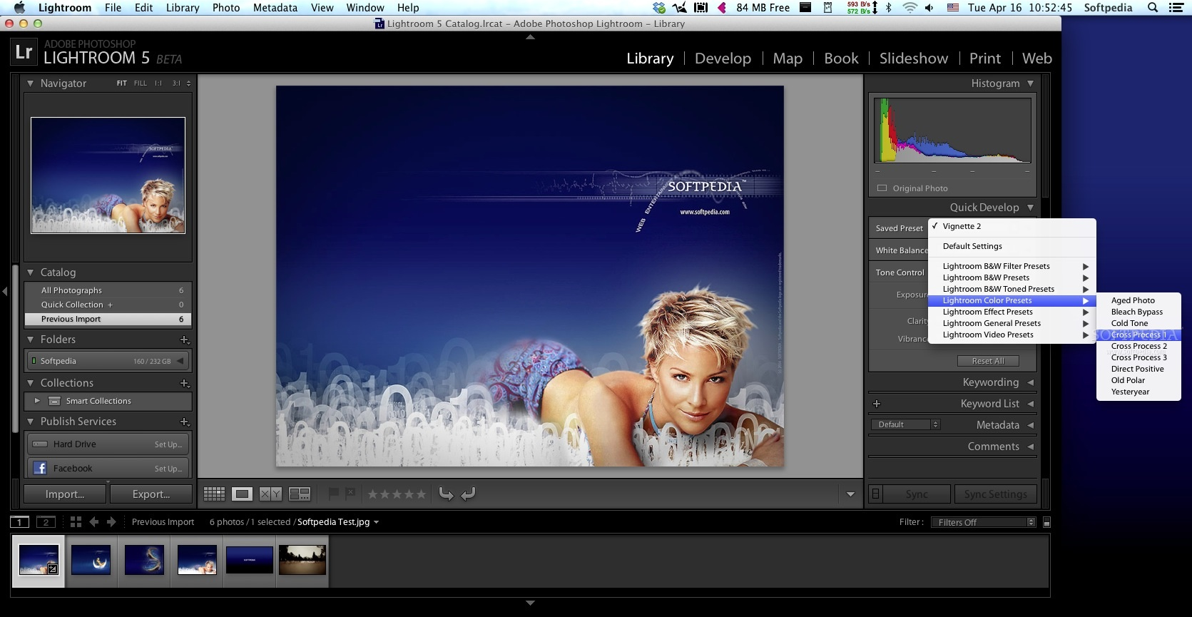 Adobe Lightroom screenshot 3 - From the Quick Develop tab you can access one of the available filter, color, effect and video presets.