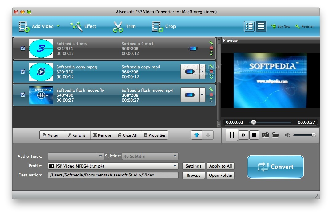 Aiseesoft PSP Video Converter screenshot 1 - Here you can choose the files that you want to convert.
