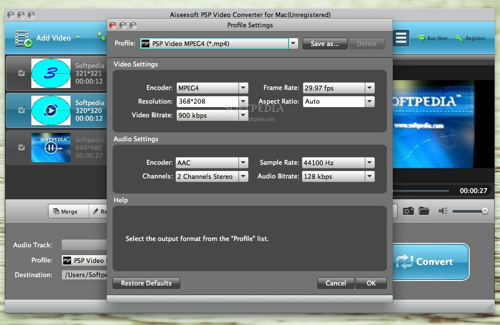 Aiseesoft PSP Video Converter screenshot 3 - Profile settings can be changed in this window.