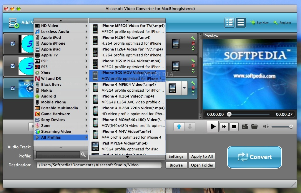 Aiseesoft Video Converter screenshot 2 - This menu allows you to choose the conversion profile.