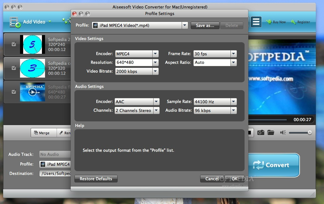 Aiseesoft Video Converter screenshot 3 - Profile settings can be changed this way.