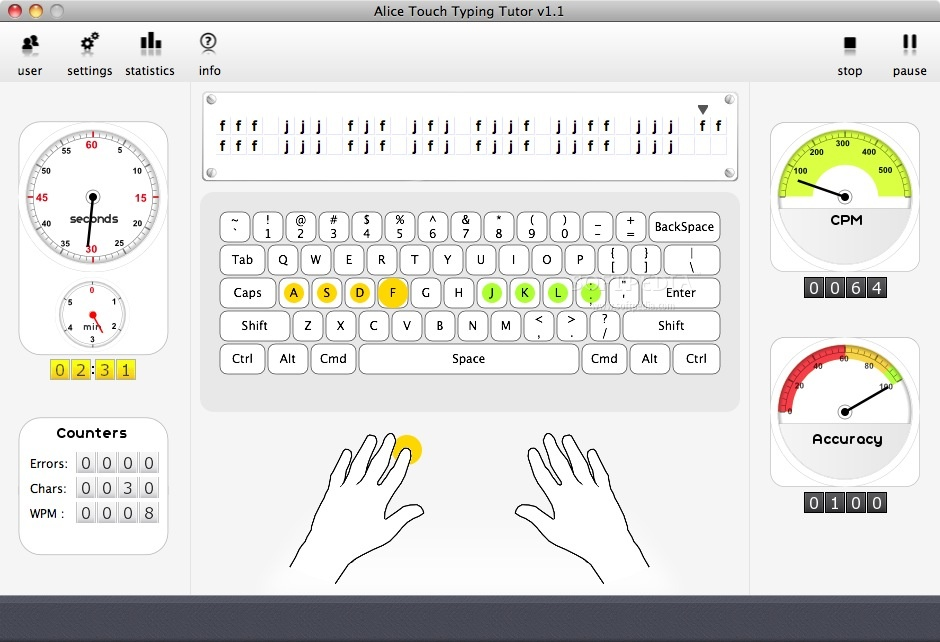 Alice Touch Typing Tutor screenshot 1