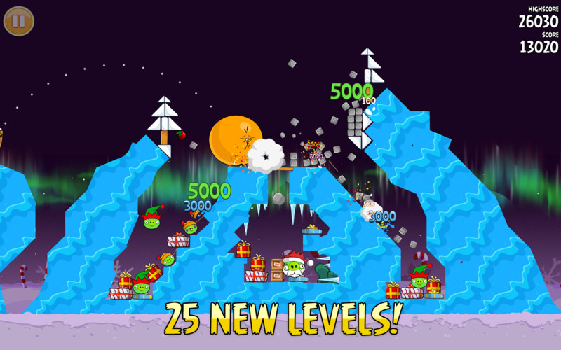 Angry Birds Seasons screenshot 2 - Each level test your ability to defeat the piggies.