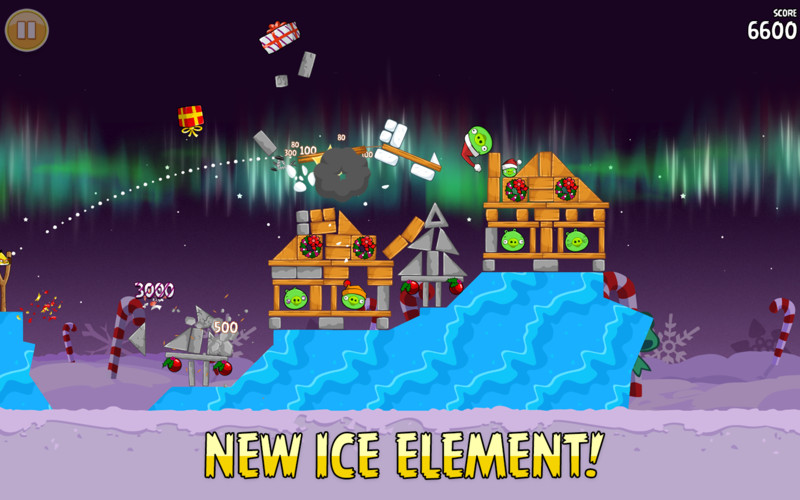 Angry Birds Seasons screenshot 3 - The new update brings a new ice element that enhances gameplay.