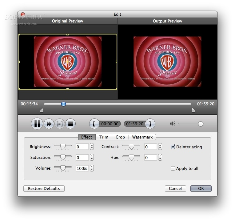AnyMP4 DVD to iPad Converter for Mac screenshot 3 - One can also easily adjust effects, trim, crop or watermark videos from the Edit window.