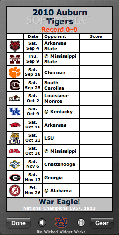 Auburn Tigers Football Schedule Widget screenshot 2 - On the back side of the widget you can see the games schedule.