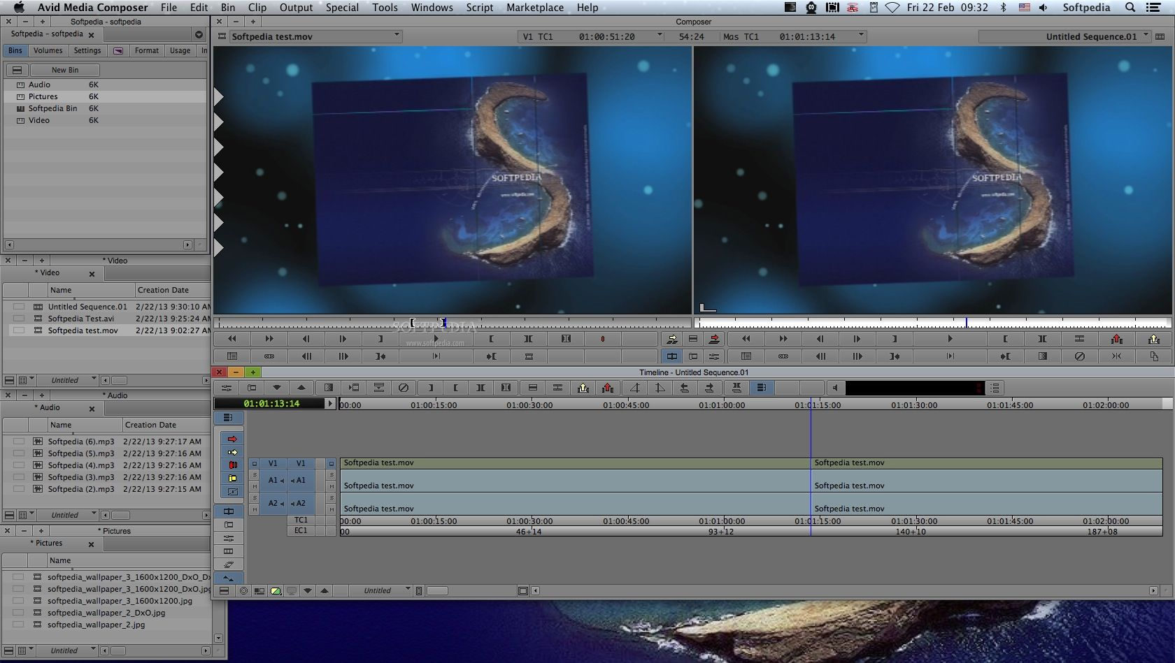 Media Composer screenshot 1 - From Media Composer's main window you can view, edit and modify video, audio and image files from your bins.