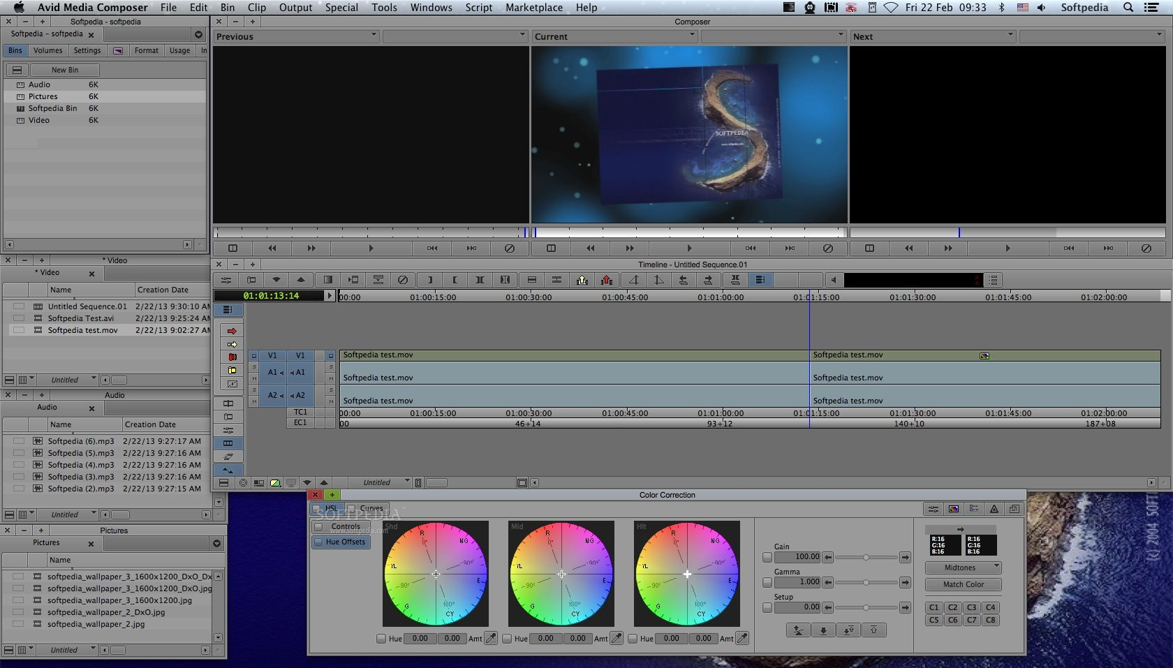 Media Composer screenshot 2 - The Color Correction window helps you correct the color of videos and images in order to be in tone with your video project's overall theme.
