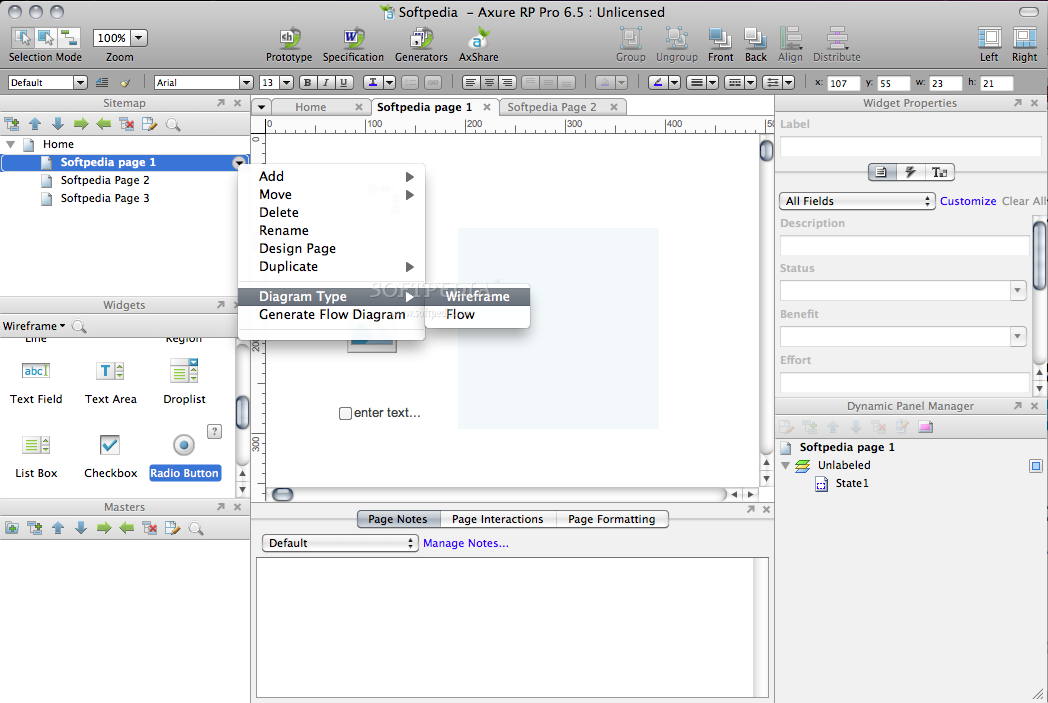 AxureRP Pro screenshot 2 - From this context menu you can add new pages, frames, etc.
