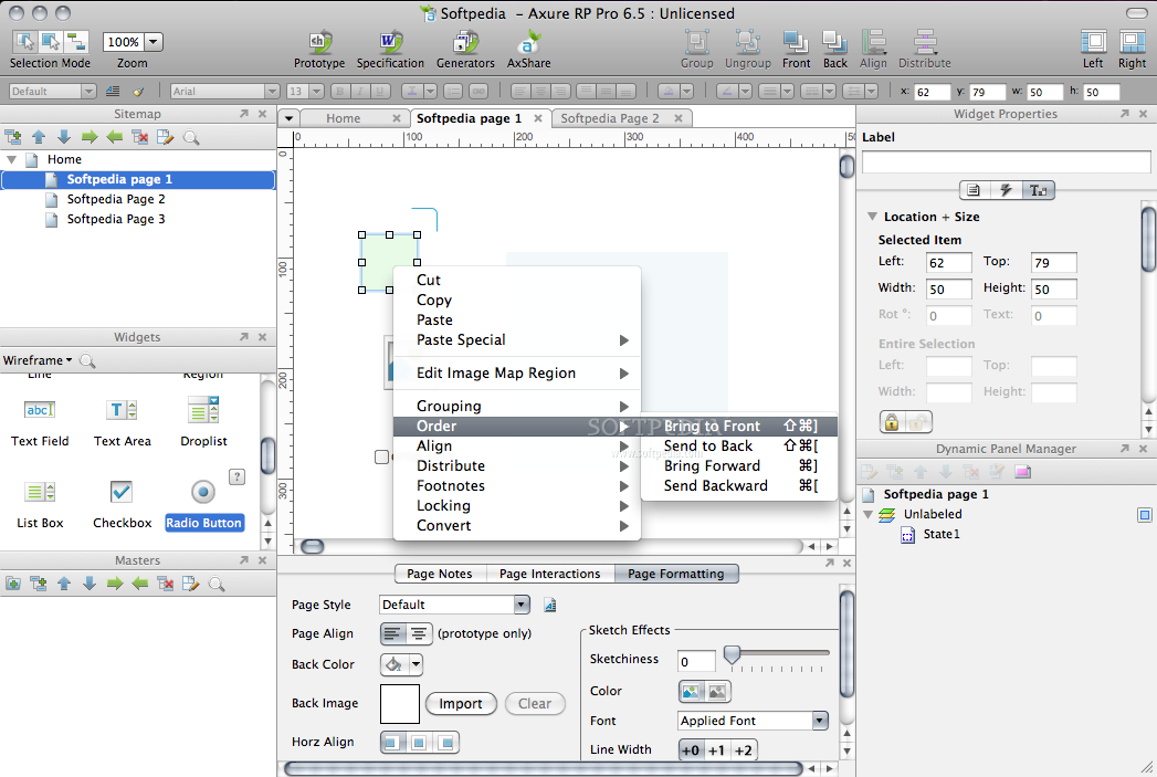 AxureRP Pro screenshot 3 - This context menu lets you edit, arrange the objects.