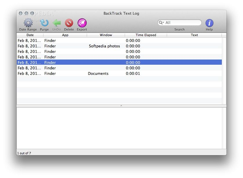 BackTrack screenshot 2 - The BackTrack's Text Log menu enables you to quickly view all the tasks carried on you mac.