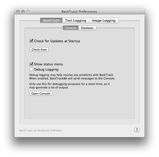 BackTrack screenshot 3 - The Preferences menu helps you configure your BackTack's update check, status menu and debug logging.