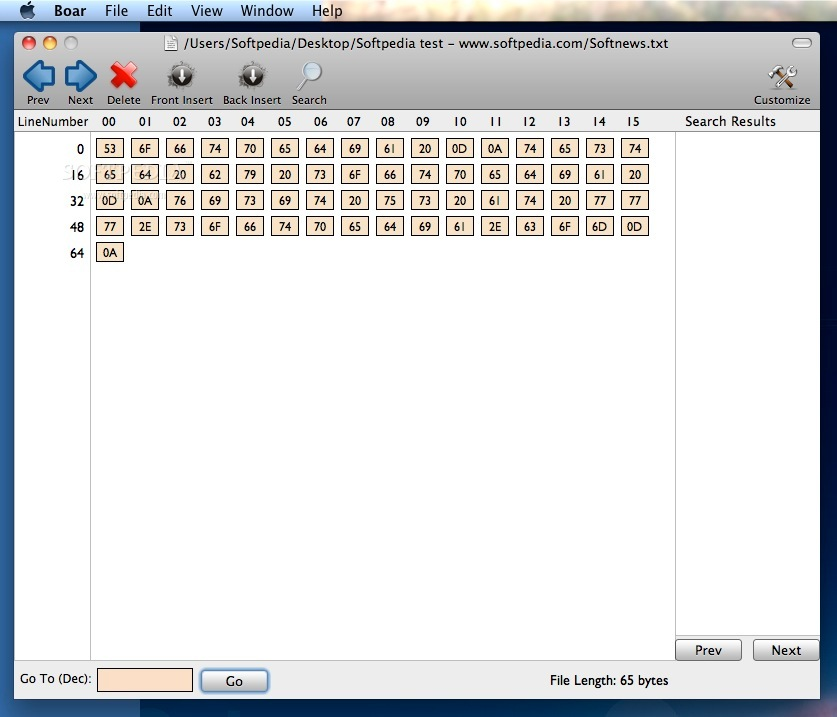 Boar screenshot 4 - The main window where you can see a file at binary level.