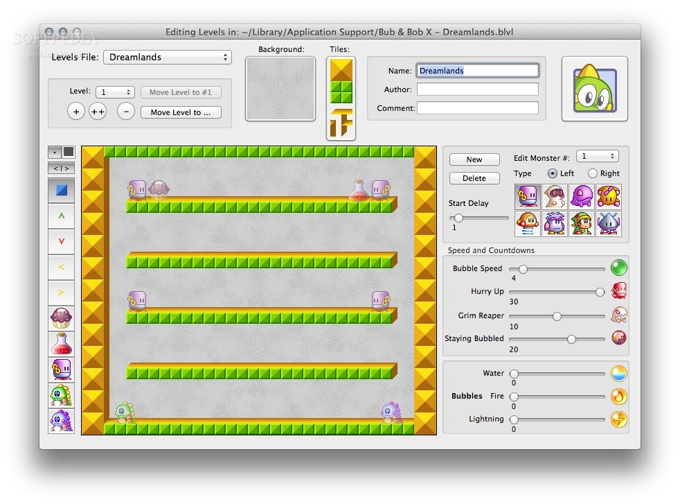 Bub & Bob X screenshot 3 - The level editor will allow you to create your own maps or customize the existing ones.