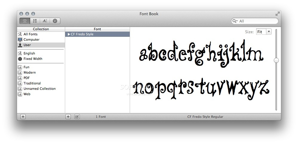 CF Fredo screenshot 1 - You can preview the typeface design in the Font Book main window.