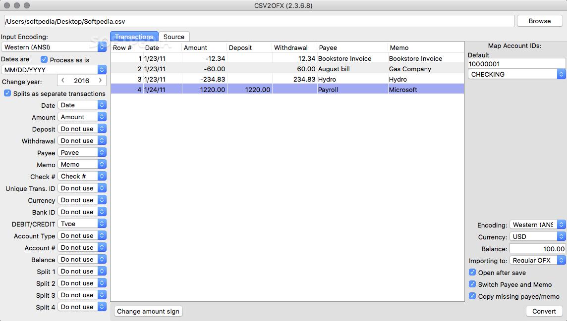 CSV2OFX Mac 4 0 0 - Download