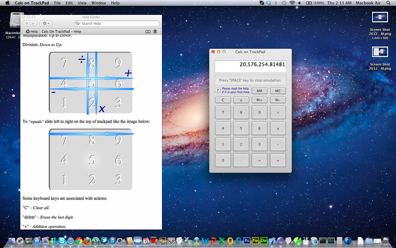 Calc on TrackPad screenshot 1 - In the main window of the application you can make math calculations.