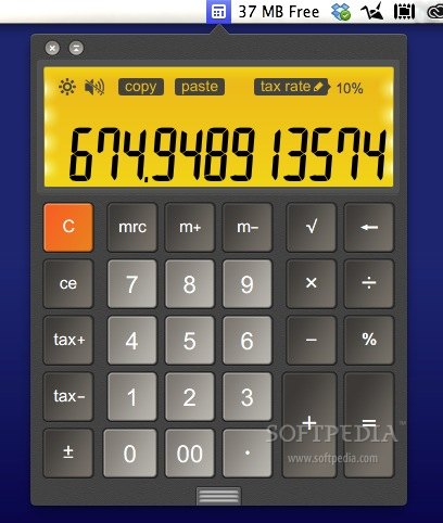Calculator LCD screenshot 1 - Calculator LCD is always present in your Mac's status bar and can be opened with only a mouse click.