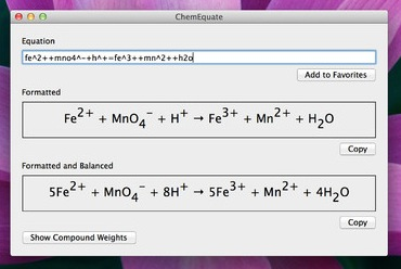 ChemEquate screenshot 2 - You can copy the formatted equations and use them in other applications.
