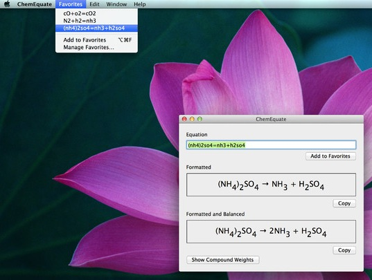 ChemEquate screenshot 3 - Users can also create a list of favorite equations for quicker access.