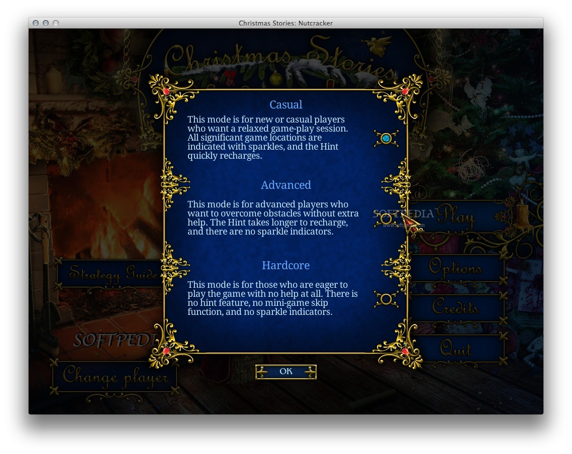 Christmas Stories: Nutcracker screenshot 4 - You can choose one of the available difficulty levels: casual, advanced or hardcore.