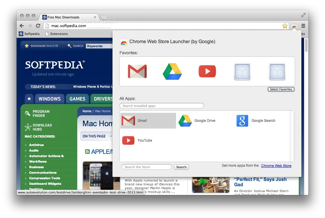 Chrome Web Store Launcher screenshot 1 - You will be able to easily access your Chrome apps from the toolbar popup.