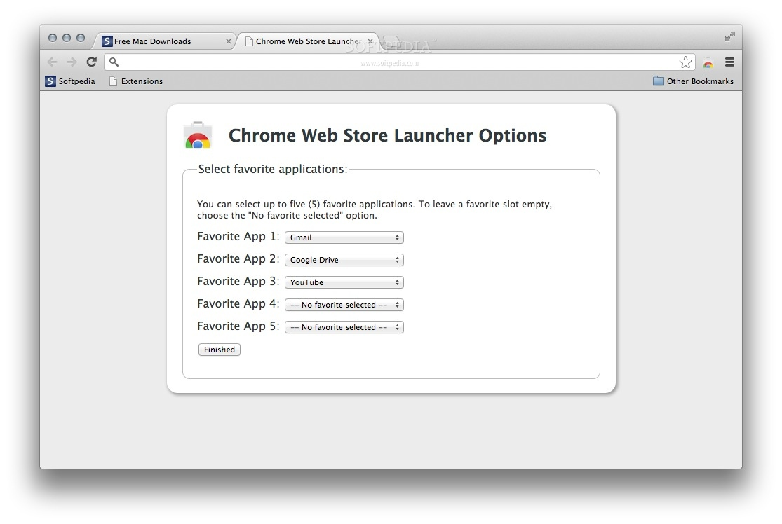 Chrome Web Store Launcher screenshot 2 - Select your favorite apps for faster access from the Options page.