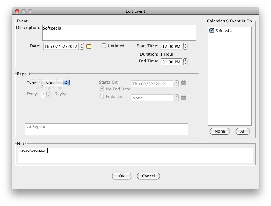 ClearSync screenshot 2 - This menu allows you to edit an event.