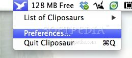 Cliposaur screenshot 1 - You can access the list of cliposaurs at any given time from the menu bar.