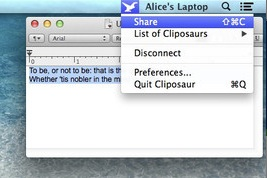 Cliposaur screenshot 3 - After writing down texts you can choose to share them with the connected computers, if you want to.