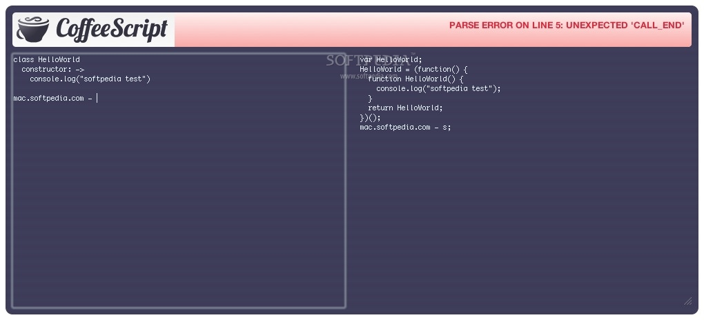 CoffeeScript Widget screenshot 1 - In the main window you can write and compile your code.
