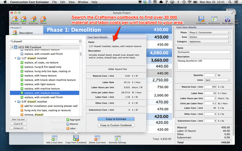Construction Cost Estimator screenshot 3 - You can view the cost details for each particular item.