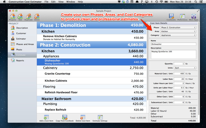 Construction Cost Estimator screenshot 1 - In the main window you can calculate the construction estimate.