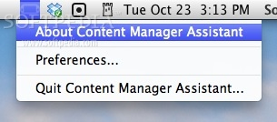Content Manager Assistant screenshot 1 - The app provide a menu bar item that allows you to access its preferences.