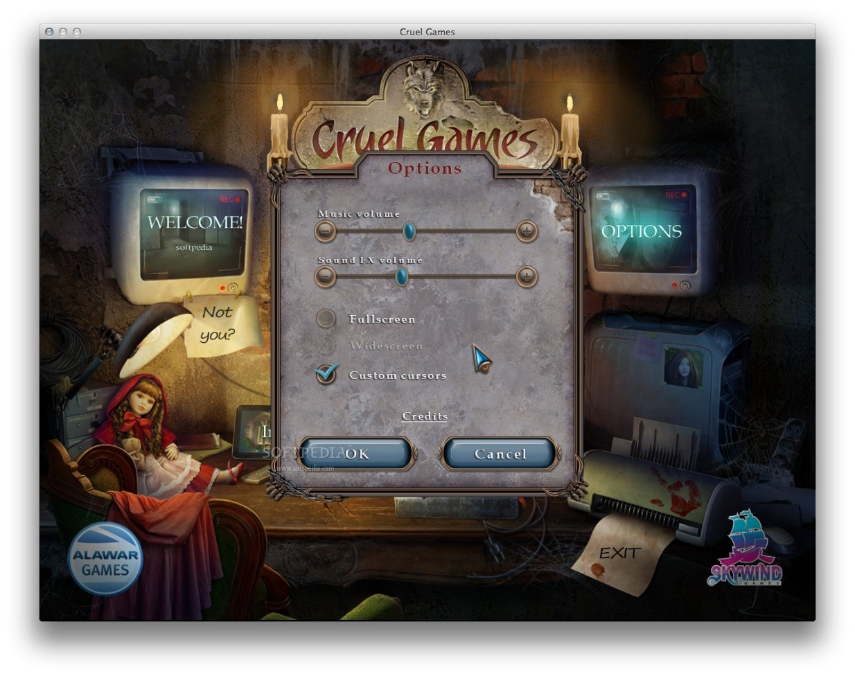 Cruel Games: Red Riding Hood screenshot 4 - The 'Options' panel allows you to adjust the music volume and more.